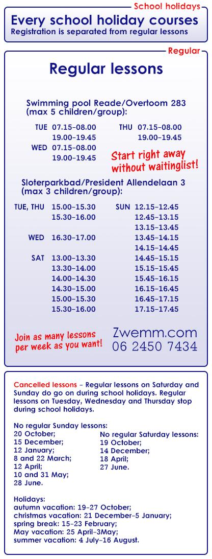 swimming lessons swim school Zwemm