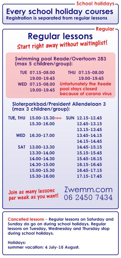 Reguliere zwemlessen Zwemm_Eng